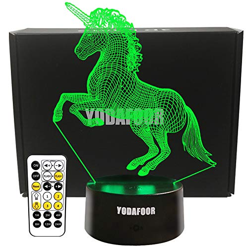 YODAFOOR Unicorn Gifts Night Light for Kids Baby Teen Children 3D Unicorn Illusion Lamp Tab Lights, Great Birthday for Unicorn Lovers, Multi Color Remote Lamp Room Decor
