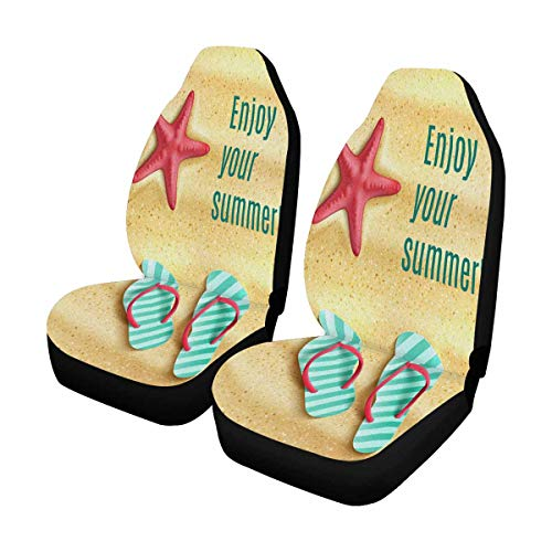 - INTERESTPRINT Summer Flip Flop Shoes and Sea Starfish Beach Universal Front Seat Covers Protectors for Car, Truck & SUV