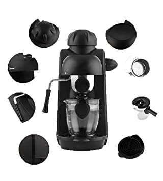 LF Máquina De Café Portátil Espumante Súper Automática Negra Máquina De Café Portátil Espumada Única Combinación De Vapor: Amazon.es: Hogar