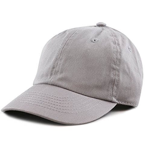 The Hat Depot Kids Washed Low Profile Cotton and Denim Plain Baseball Cap Hat (6-9yrs, Grey)