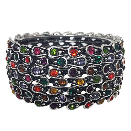 Statement Rhinestone Wide Hinged Bangle Bracelet - Assorted Colors (Multi Color)