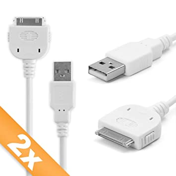 subtel 2X Cable USB dato (1m) Compatible con Apple iPod Nano 1. Gen. / Nano 2. Gen. / Nano 3. Gen. / Nano 4. Gen. (Apple 30 Pin (Dock Connector) a USB ...