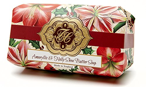 Amaryllis and Holly, Luxury Large Oversized, Beautifully Scented Shea Butter Soap Bar, Made in England, Triple Milled. Environmentally Friendly (Green). 8.0oz.
