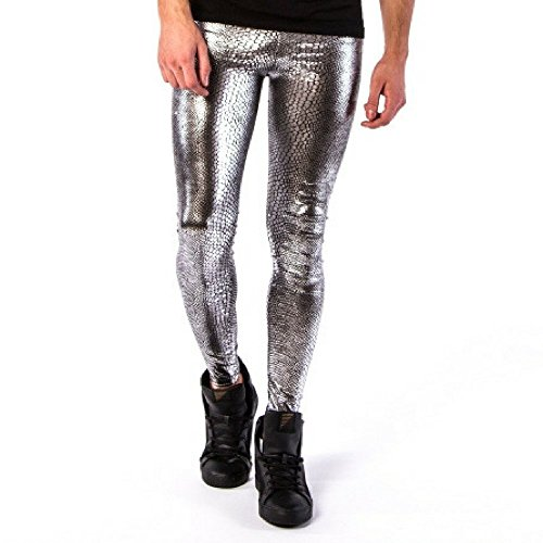 Kapow Meggings Men's Metallic Range Leggings - Holographic, Wet Look & Glitter (Jake The Snake - Silver Snakeskin, Small)