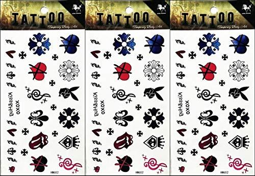 PP TATTOO 3 Sheets Temporary Tattoos Stickers Flower Musical Notes Cartoon Tattoo Sticker Art Vintage for Men Women Guys Waterproof Body]()