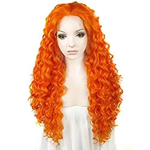 - Ebingoo Orange Synthetic Lace Front Wig Kinky Curly Heat Resistant Wig for Women Cosplay Daily Wear (Orange)