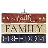 "Imprints Plus Faith Family Freedom Inspirational Reclaimed Wood Sign, 12"" x 8"" Rustic Wall Decor Plaque with Hangers Bundle by 12500005"