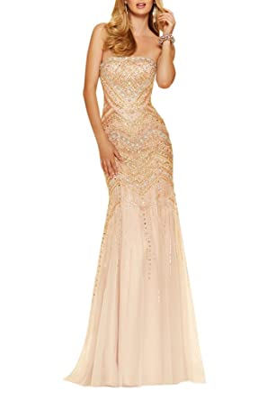 La Mariee Stunning Rhinestones Mermaid Evening Prom Dresses Party Dresses New - Beige -