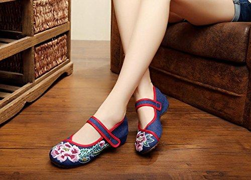 WXT Zapatos bordados, lino, lenguado de tendón, estilo étnico, zapatos femeninos, moda, cómodos zapatos de baile navy blue