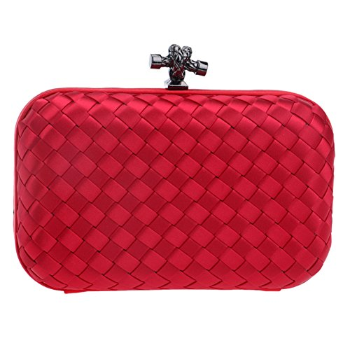 Red Purse Shoulder Chain Wedding Wallet Clutch Rose Evening Womens Ladies Bags Woven Bags Dress fSwIIOxqn1