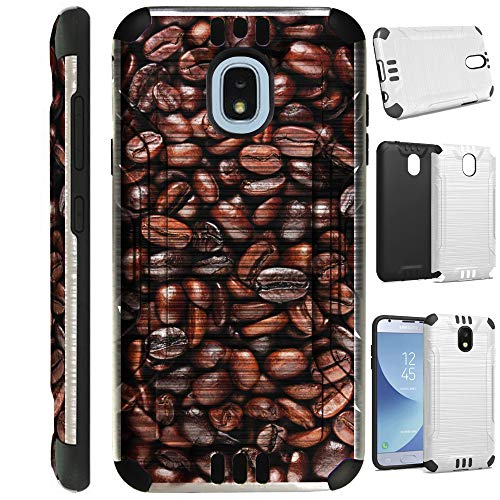 for Samsung Galaxy J7V J737 (2018) | J7 Aero | J7 Top Star | J7 Refine | J7 Crown | J7 Aura | J7 Eon Case Brushed Metal Texture Hybrid TPU Silver Guard Phone Cover (Roasted Coffee)