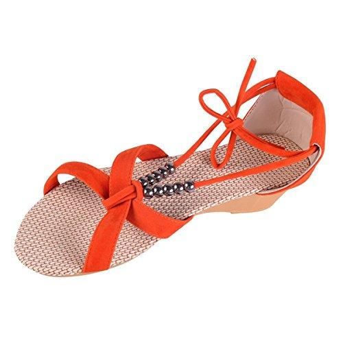 Sandali Vacanza Minetom Casual Donne con Perline d'estate Pantofole Arancione Accessorio Scarpe da Nastri 6wZ5xB