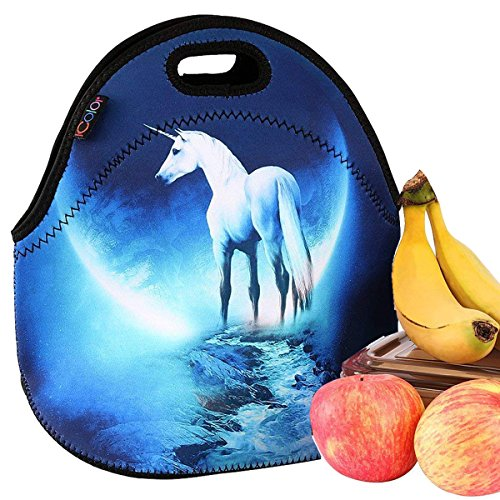 iColor Unicorn Universal Neoprene Sleeve Lunch bag Insulated warm/cold lunchbox Cooler Pouch Shopper Tote baby Portable Fashion Waterproof Cover Kids Handbag Food Carrying Case Protector Handle School ()