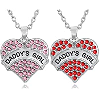 Set of 2 DADDY'S GIRL Silver Tone Red and Pink Valentine's Day Heart Necklaces for Big Little Twin Sisters Daughters...