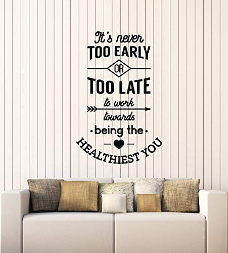 (Letters Wall Decor Stickers Large Vinyl Wall Decal Healthy Quote Saying Inspire Health Medical Office Decor Stickers)