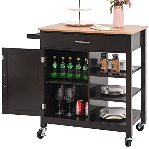 Merax Kitchen Island Rolling Cart with Storage Cabinets, Natural and Espresso Finish (Espresso)