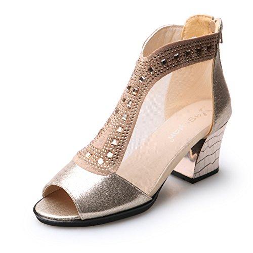 con 1 mujer número con zapatos gráficos de código delgado atrevidos Un el chica zapatos de 116 Oro de alto grandes en hilados mujer el zapatos neto verano gran talón 5Xf5vwqT