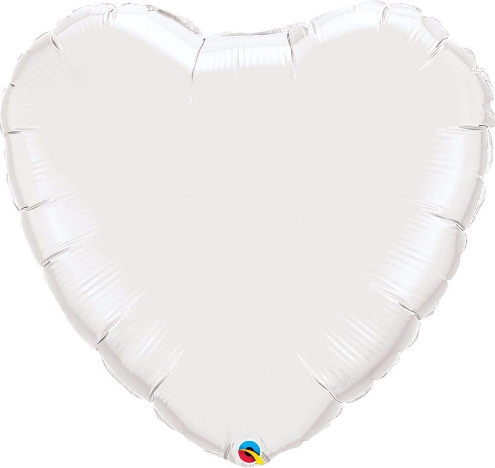 Blanc 9 (Pack Quantity12) NANA'S PARTY Qualatex Couleur Unie en Forme de cœur Feuille Décoration de Ballons de fêtes {Air Helium}, doré métallique, 36 (Pack Quantity12)