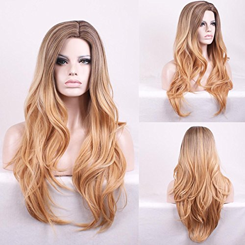 Women Synthetic Wig Capless Long Very Long Natural Wave Blonde Middle Part Natural Wig Halloween Wig Carnival Wig Costume Wigs -