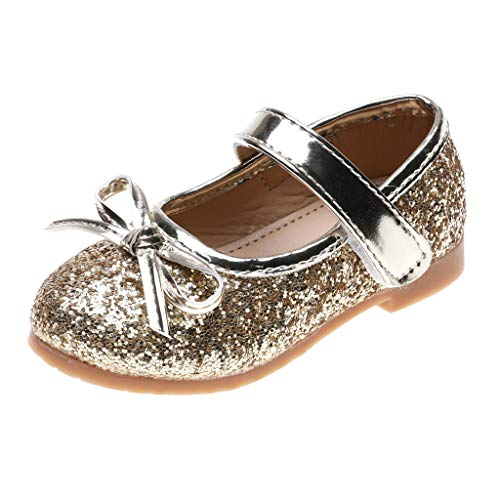 (TOOPOOT Sandals for Girls Toddler, New Bling Sequin Single Princess Shoes Sandals for 1-6Years Gold)