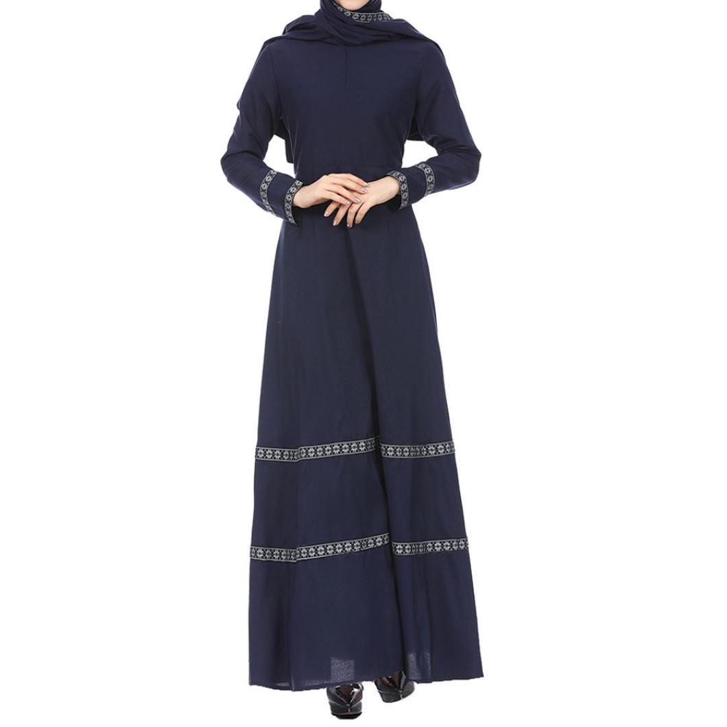 Rucan Women Muslim Kaftan Abaya Jilbab Long Sleeve Lace Vintage Maxi Dress (A, Medium)