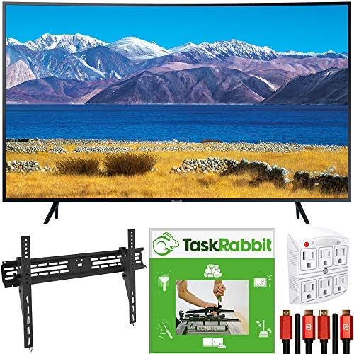 SAMSUNG UN65TU8300 65-inch HDR 4K UHD Smart Curved TV (2020) Bundle with TaskRabbit Installation Services + Deco Gear Wall Mount + HDMI Cables + Surge Adapter