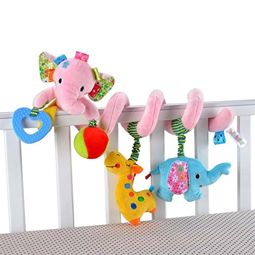 Singring Baby Pram Crib Cute Pink Elephant Design Activity Spiral Plush Toys Stroller and Travel Activity Toy ()