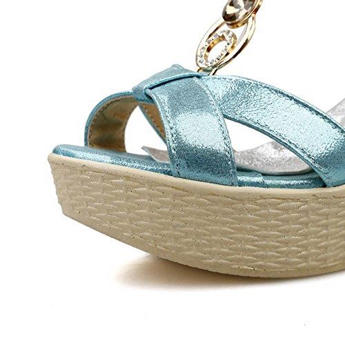 Amoonyfashion Para Mujer De Charol Abierto Punta Estrecha Hebilla Sandalias Sólidas Azul