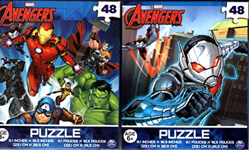 Bundle Set of 2 AVENGERS Jigsaw Puzzles (48 Pieces each) Featuring Marvel Superheroes Black Panther, Iron Man, Hulk, Captain America, Thor, Ant-Man, Wasp and Falcon - Super -