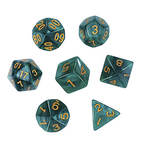 eBoot Polyhedral 7-Die Dice Set for Dungeons and Dragons with Black Pouch (Green) ()