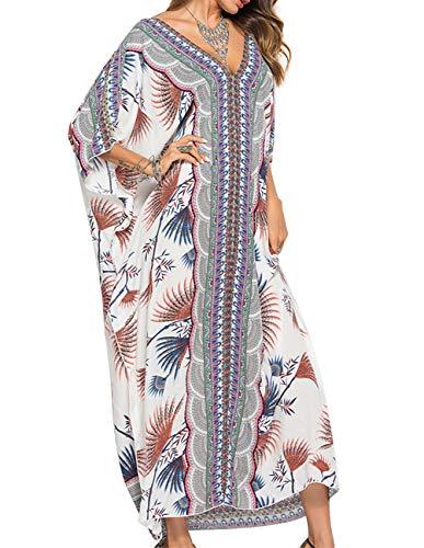 Buauty Women's Print Cover Up Kaftans Chiffon Caftan Loungewear Beachwear Bikini Swimsuit Cover Up Dress