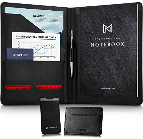 NERO MANETTI- Leather Portfolio Folder - Business PU Leather Portfolio Notepad Holder for Resumes, Legal Pad Portfolio Executive Binder, Professional Padfolio Notebook for Women/Men