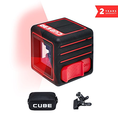 (ADA Cube 3D Home Edition, Laser Level, Crossline Self-Leveling Laser Level Kit, 20 Meters (65 feet) One Horizontal and Two Vertical Lines. Carrying Pouch, Universal Mount and batteries included A00383)