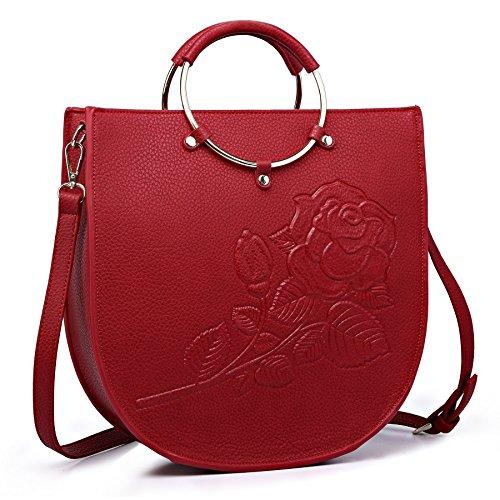 Filles Femme Main Cuir Pu Bandoulière Rosso Élégante Sac Sacoche Kaxidy Fleur Porté À Épaule FqaYC1txw