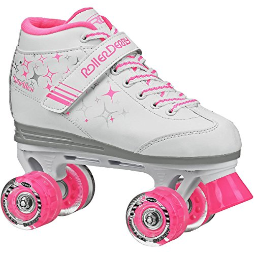 - Roller Derby Girls Sparkle Lighted Wheel Roller Skate, White, Size 13