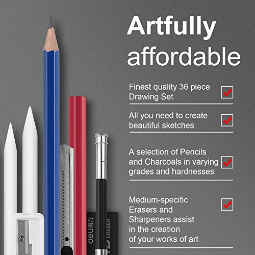 36 Pieces Sketch & Drawing Art Supplies Set,Art Supplies Drawing Kit Includes Graphite Pencils, Charcoal Pencils, Paper Erasable Pen, Erasers and Sharpener,Perfect for Kids & Adults