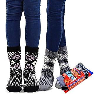 TeeHee Super Warm Brushed Thermal Crew Socks 2 Pairs Pack (9-11, Snow Flake GRY/BLK)