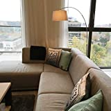 QAZQA Modern Arc Floor Lamp/Arc Floor Light Basic Steel/Nickel Matt/Satin with Grey Fabric Shade/Round E27 Max. 1 x Watt/Indoor Lighting/Lights/Lamps/Living Room