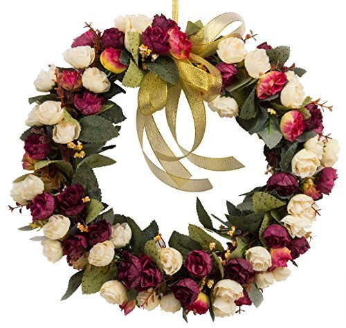 Rose Wreath Silk Flower Head Floral Home Wall Decor Wedding Decoration (stlye champagne red) ()