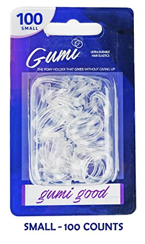 GUMI Reusable Extra Strong Hold Hair Elastics Small-100 Count Clear