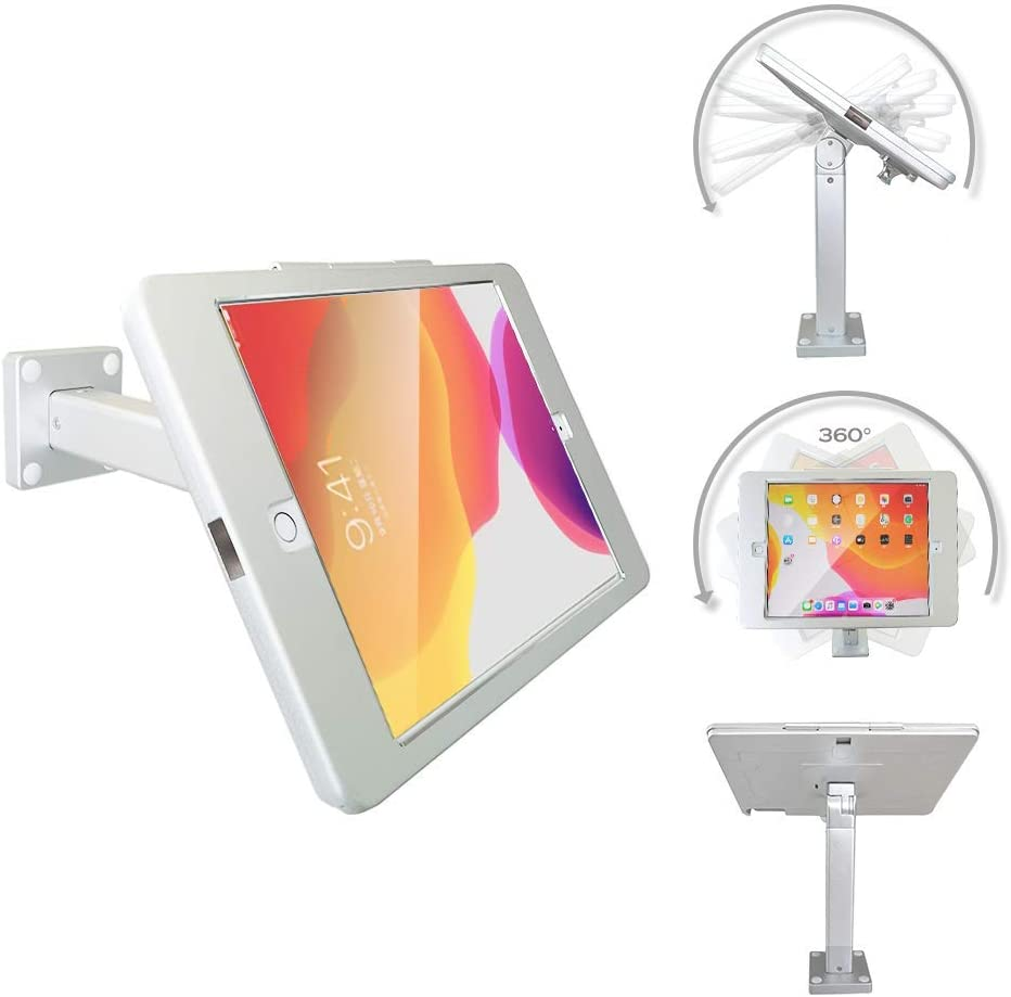 """Tablet POS Wall Mount Stand or Desktop Stand Enclosure with Anti-Theft Security Lock, Compatible with 10.2"""" iPad"""