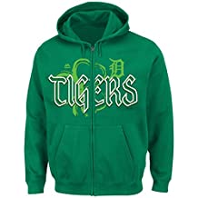 "Detroit Tigers Majestic MLB ""Lucky Season"" Full Zip Hooded Sweatshirt - Green"