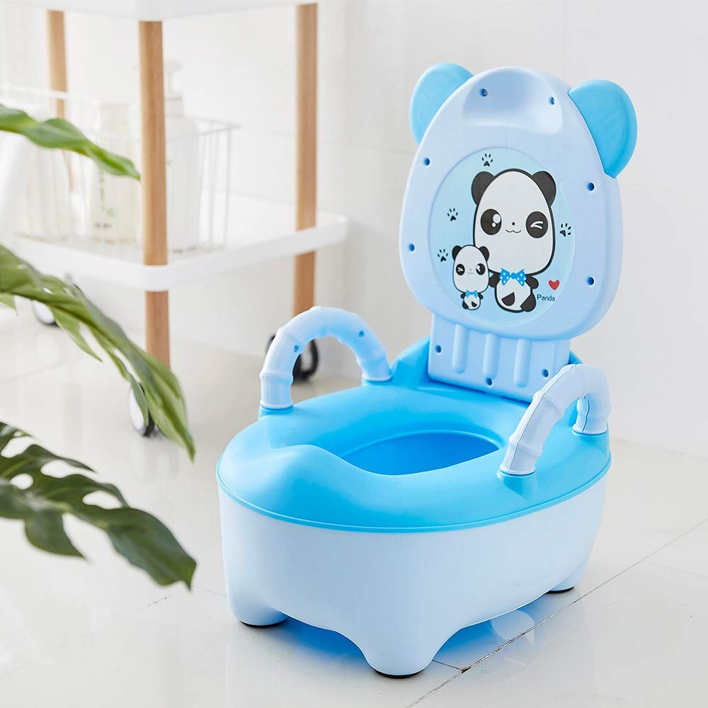 Color : Blue A HNTHBZ Baby Topf for Kinder Jungen T/öpfchen Toilettensitz Baby T/öpfchen M/ädchen Tragbare Toilette Bettpfanne Komfortable R/ückenlehne Cartoon T/öpfe YSYHLJT-105