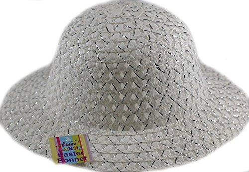 Decorate Easter Bonnet - Girls Easter Bonnet Hat - Ideal to decorate For School Parade - White / Silver by DP