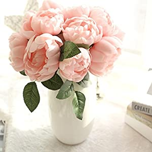 Wondere Artificial Flowers, 'Petals Feel and Look like Fresh Leaf Peony Floral' Artificial Flower Bouquet Floral Arrangement, Perfect for Wedding, Bridal, Party, Home, Office Décor DIY 60
