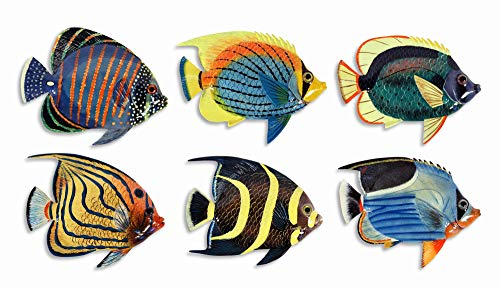 "Handpainted L-A Tropical Fish Replica Wall Mount Decor Plaque 6"" (Set Of 6)"