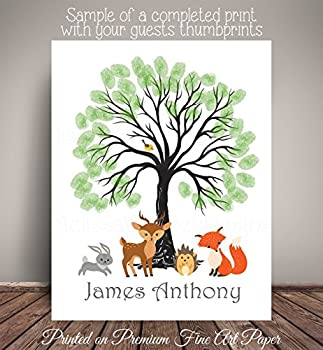 """Woodland Creatures Nursery Art Print as """"Guest Book"""" Alternative - Guests 'Leaf' their thumbprints and sign - Printed on Fine Art Paper - WCBT002"""