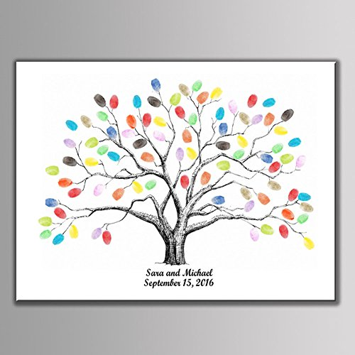 Ink Tree - SHZONS Fingerprint Tree Creative Signature Guest Book Personalize Thumbprint Tree for Wedding Baby Shower Birthday Party Home Decoration
