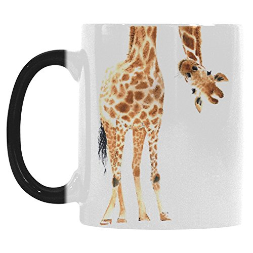 Giraffe Mug (InterestPrint Watercolor Giraffe Animal Print Morphing Mug Heat Sensitive Color Changing Coffee Mug Cup with Quotes, Funny African Wildlife Safari Coffee Mug Christmas Birthday Gifts)