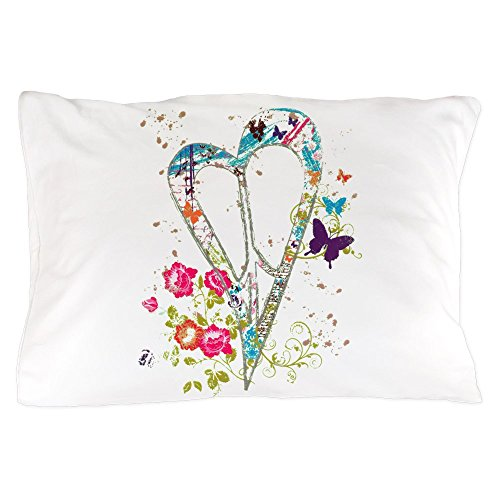 Pillow Case Flowered Butterfly Heart Peace Symbol